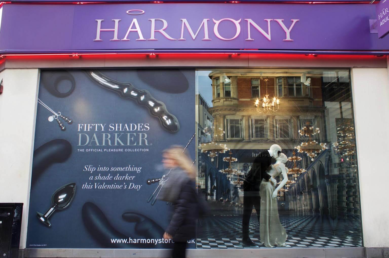 Harmony, Oxford Street Fifty Shades Darker window display