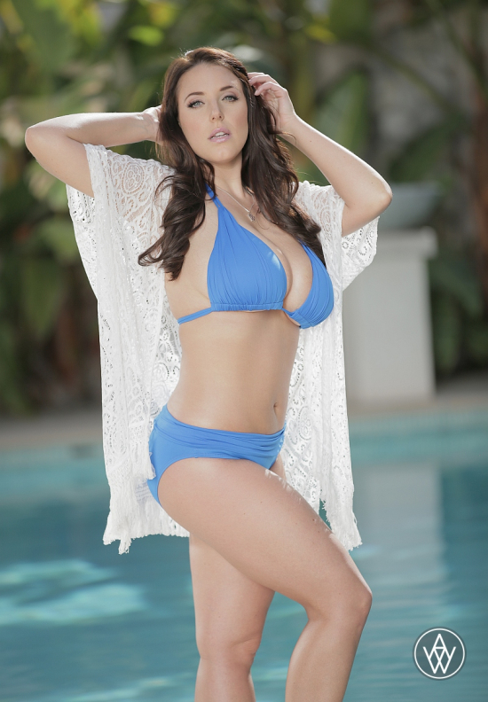 Porn star Angela White in blue bikini